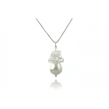 Colier perla Mallorca lacrima, Swarovski Clear si argint
