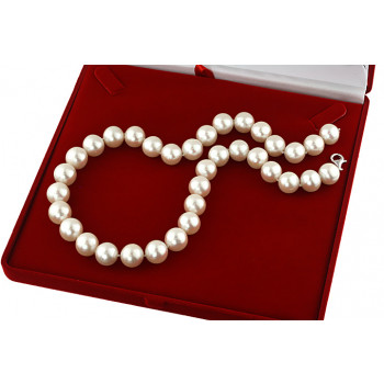 Colier perle de cultura albe 12 - 14 mm, calitate AAA si argint