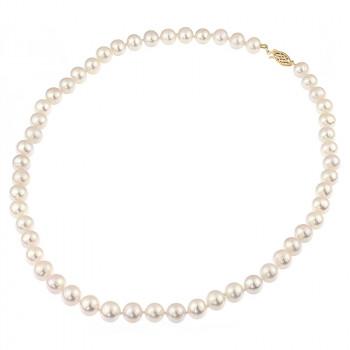 Colier perle naturale albe 8 - 9 mm AA si inchizatoare aur 14K