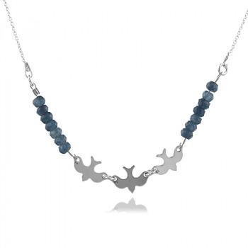 Colier randunele din argint si jad albastru marin
