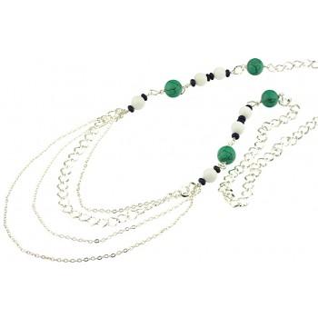 Colier lung din turcoaz, jad alb, lapis lazuli si lant