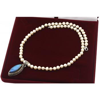 Colier unicat din perle naturale albe, labradorit si argint