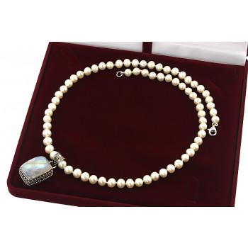 Colier unicat din perle naturale albe, piatra lunii si argint