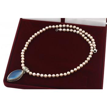 Colier unicat din perle naturale, calcedonie albastra si argint