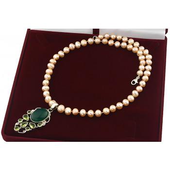 Colier unicat din perle naturale, onix verde, peridot si argint