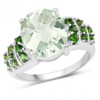 Inel din argint, ametist verde si cromdiopsid