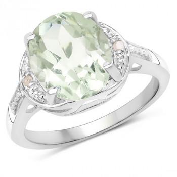 Inel din argint, ametist verde si diamante albe