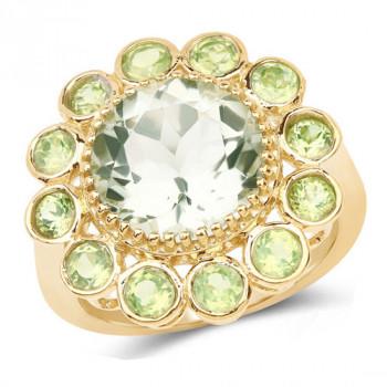 Inel din argint, ametist verde si peridot