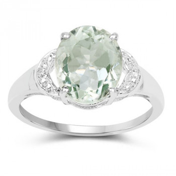 Inel din argint, ametist verde si topaz alb