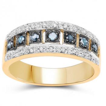 Inel din argint cu diamante albastre si diamante albe