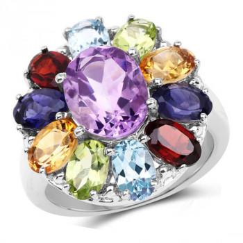 Inel din argint cu floare din pietre semipretioase
