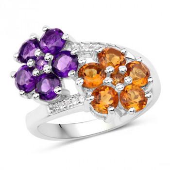 Inel din argint cu flori din ametist si citrin