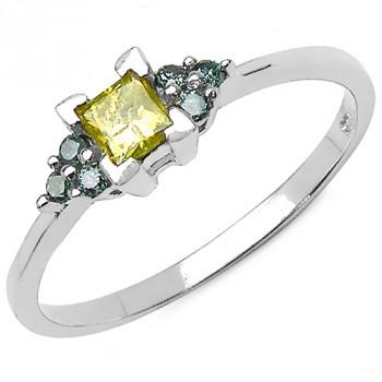 Inel din argint, diamant galben si diamante albastre