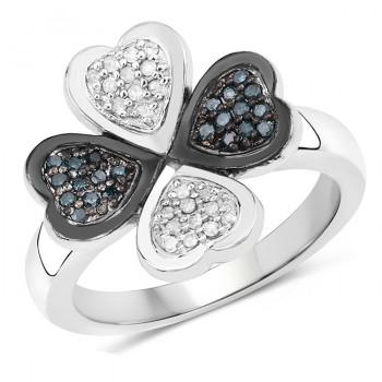 Inel din argint, diamante albastre si diamante albe
