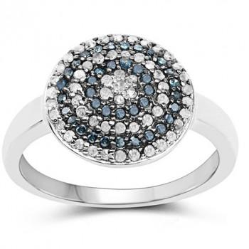 Inel din argint, diamante albe si diamante albastre