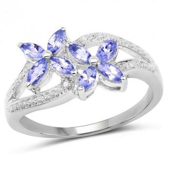 Inel din argint, flori tanzanit si diamante albe