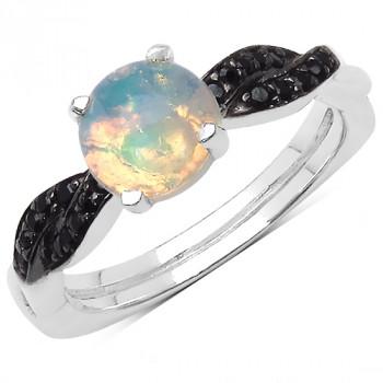 Inel din argint, opal etiopian si spinel negru