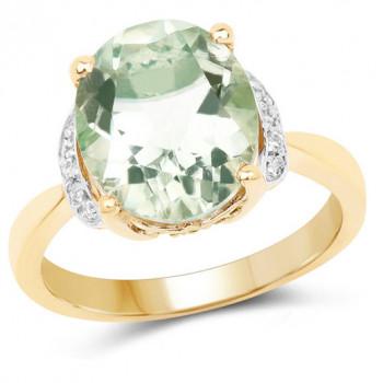 Inel din argint placat cu aur, ametist verde si topaz alb