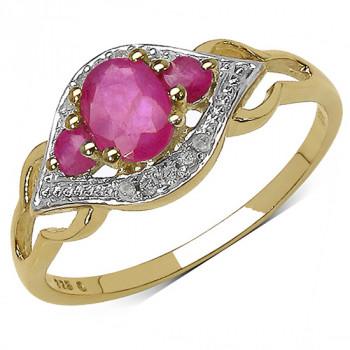 Inel din argint placat cu aur, rubine si diamante