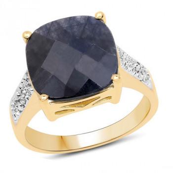 Inel din argint, safir albastru si diamante albe