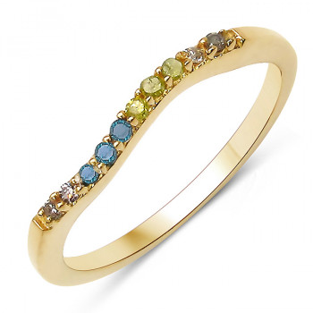 Inel din argint placat cu aur si diamante multicolore