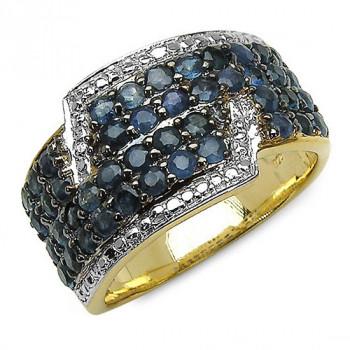 Inel din argint placat cu aur si safire albastre