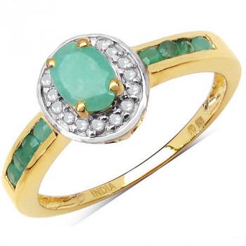 Inel din argint placat cu aur, smaralde si diamante albe