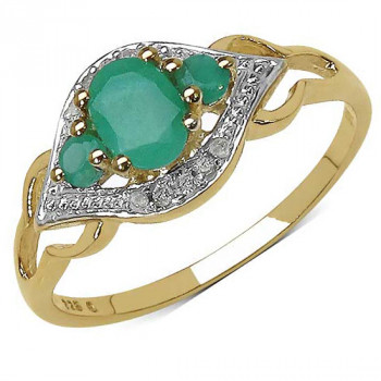 Inel din argint placat cu aur, smaralde si diamante