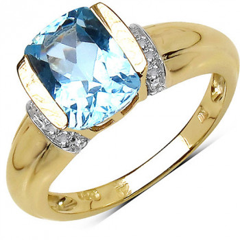 Inel din argint placat cu aur, topaz albastru si topaz alb