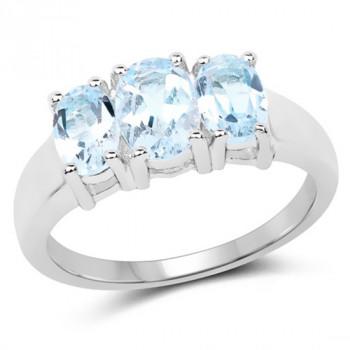 Inel din argint placat cu rodiu si topaz albastru