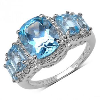 Inel din argint placat cu rodiu si topaze albastre