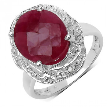Inel din argint, rubin si diamante albe