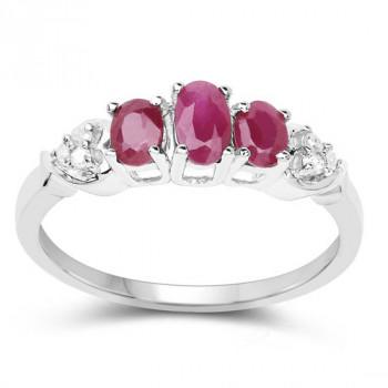 Inel din argint, rubine si diamante albe