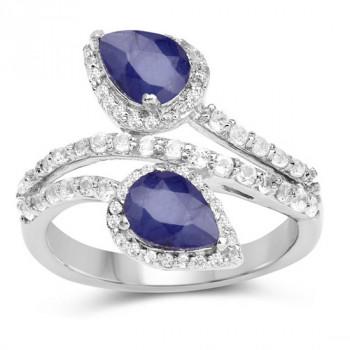 Inel din argint, safir albastru si topaz alb