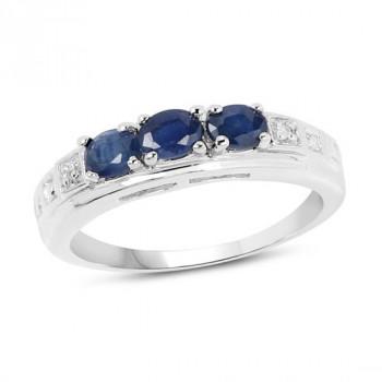 Inel din argint, safire albastre si diamante albe