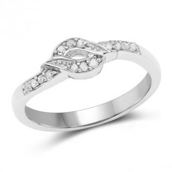 Inel din argint si diamante albe