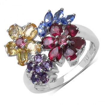 Inel din argint si flori din pietre semipretioase