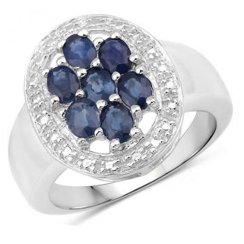 Inel din argint si safire albastre