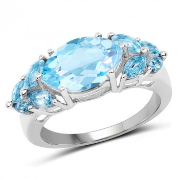 Inel din argint si topaz albastru marquise