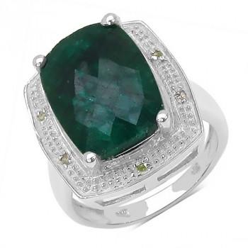 Inel din argint, smarald si diamante albe
