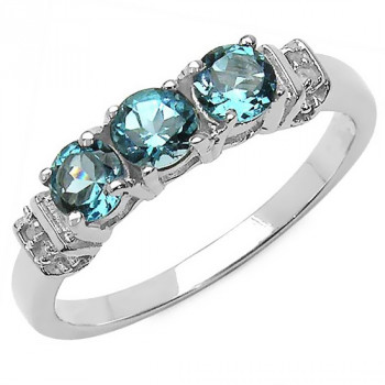 Inel din argint, topaz albastru londonez si diamante albe