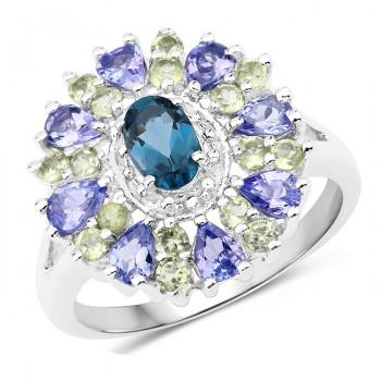 Inel din argint, topaz albastru, peridot si tanzanit