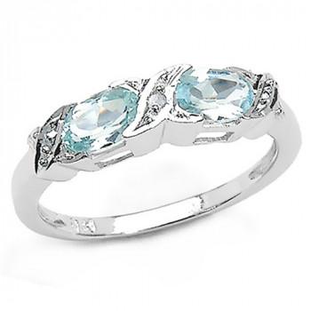 Inel din argint, topaz albastru si diamant alb