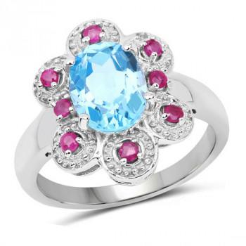 Inel din argint, topaz albastru si rubine