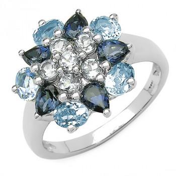 Inel din argint cu floare din topaz albastru si topaz alb