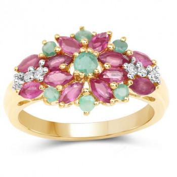 Inel floare din argint, rubin, smarald si topaz alb