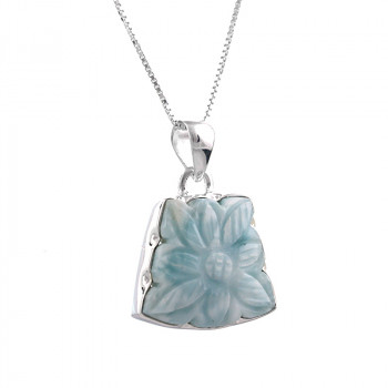 Colier unicat din larimar, sculptat in forma de floare