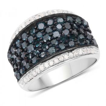 Inel exclusivist din argint si diamante albastre si  albe