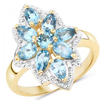 Inel din argint placat cu aur si topaz albastru