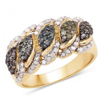 Inel exclusivist din argint si diamante multicolore